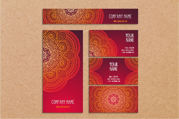Pink Business Cards in Ethnic Style