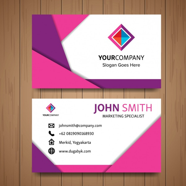 Pink Business Card with Geometric Shapes Free