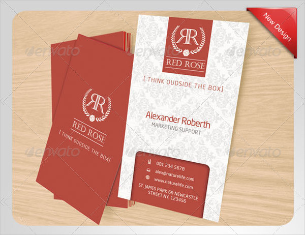 Red Rose Name Card Templates