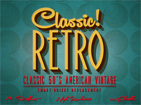 Retro Text Effects Classic American Vintage