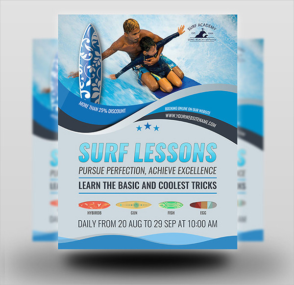 Surf Lessons Flyer Template