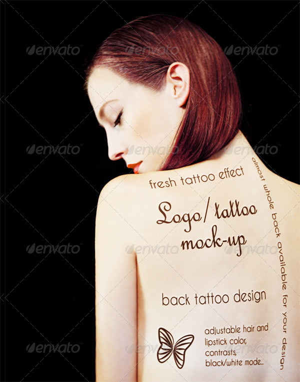 Tattoo Mock-Up Printed on Girl's Back