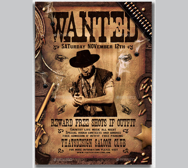 Wanted Western Party Poster Template