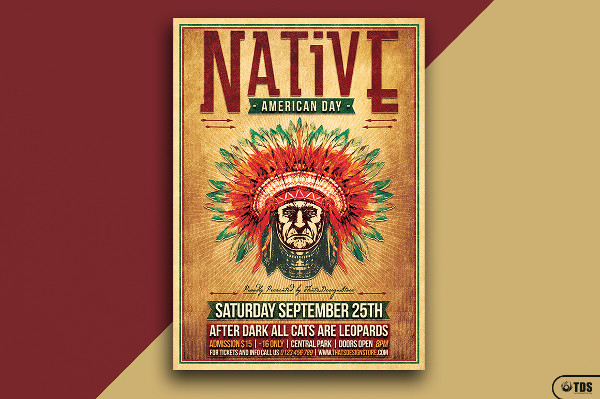 Western Native American Day Poster