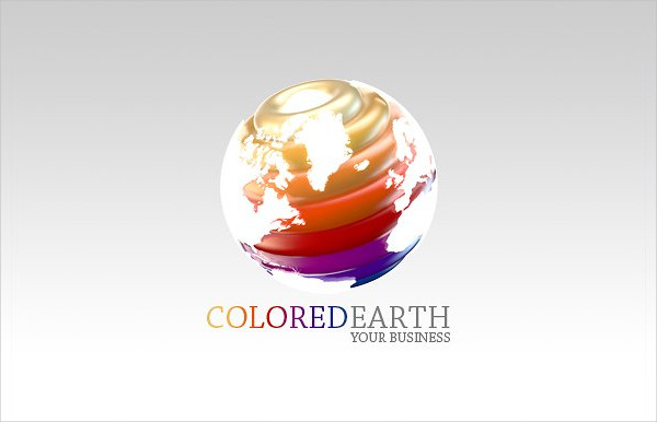 3D Colored Earth Logo