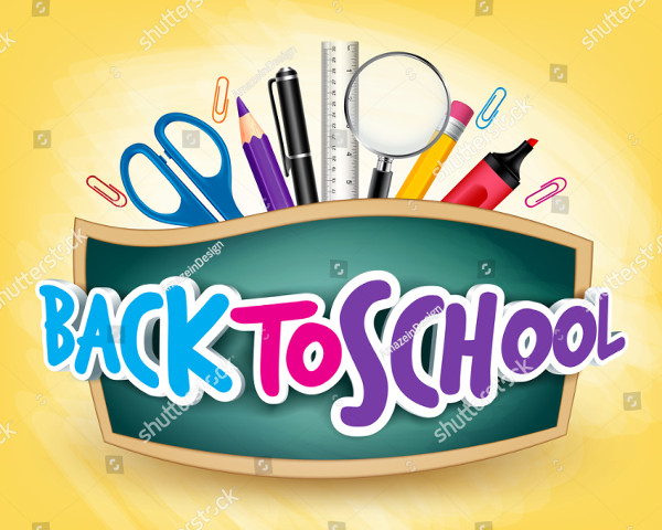 3D Realistic Back to School Title Poster Design