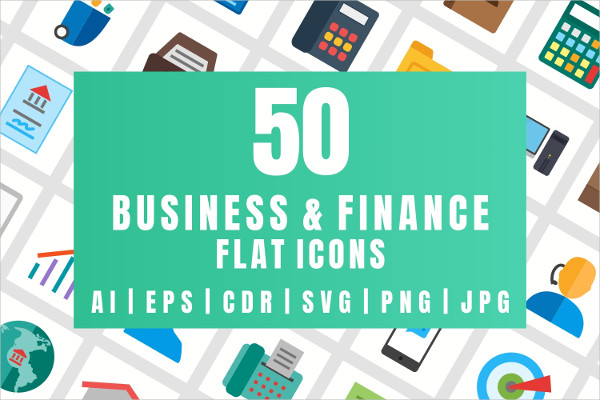 50 Business & Finance Flat Multicolor Icons
