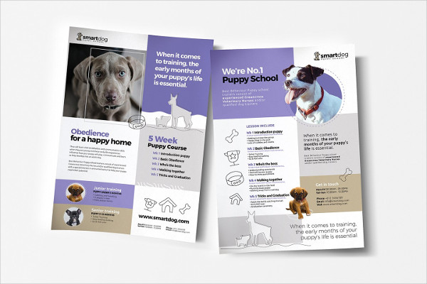 A4 Puppy School Poster Template