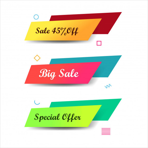Abstract Colorful Sale Banners Set Design Free Download