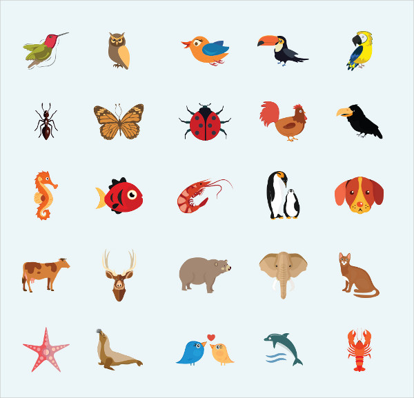 Birds And Insects Flat Icons Set