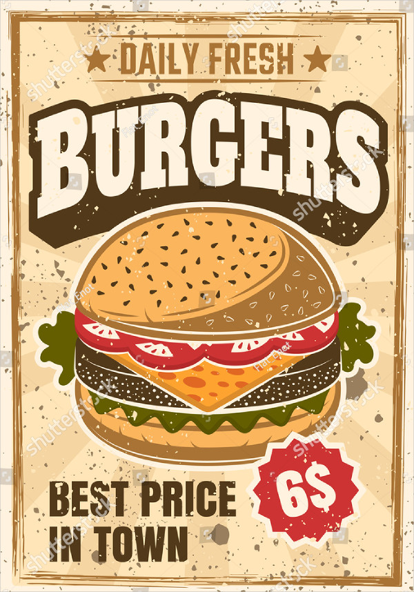 Burger Colored Advertising Poster