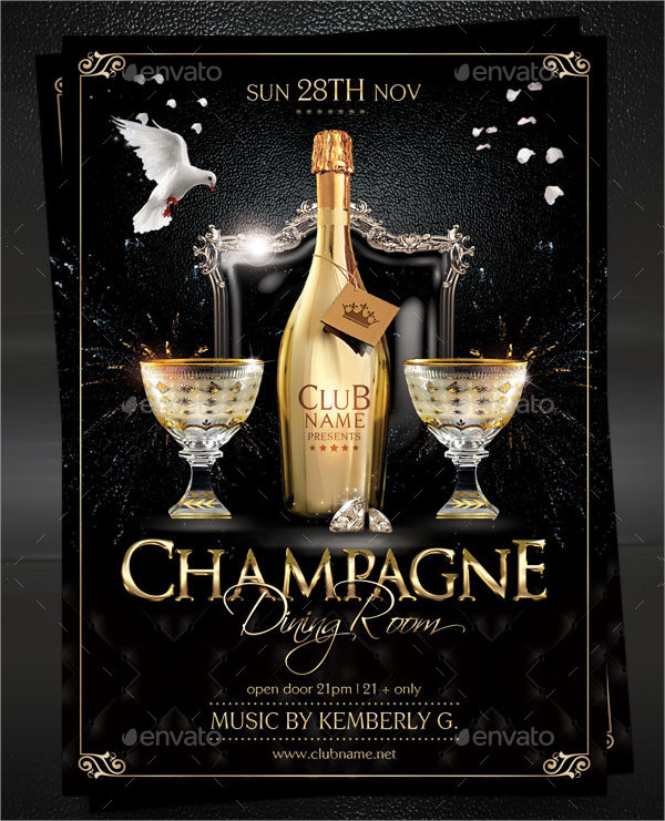 Champagne Dining Room Flyer Template