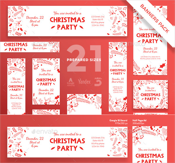 Christmas Party Banner Template Designs Pack