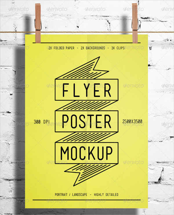 Clean Hanging Poster Mock-up