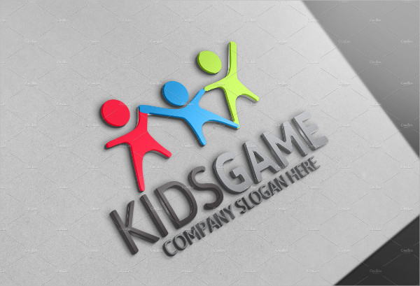 Colorful Kids Game Logo Design