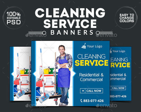 Editable Cleaning Company Banners PSD
