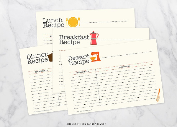 Editable Recipe Card Set