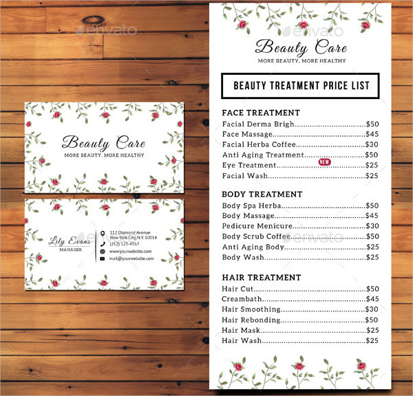 Floral Beauty Business Card & Pricelist