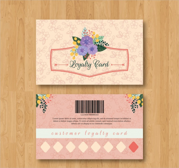 Floral Loyalty Card Template Free Download