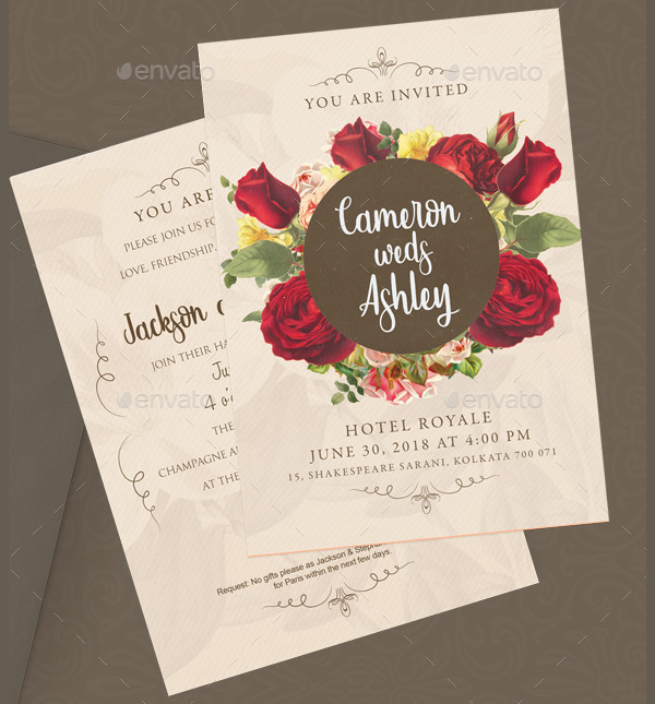 Floral Marriage Invitations Card Template