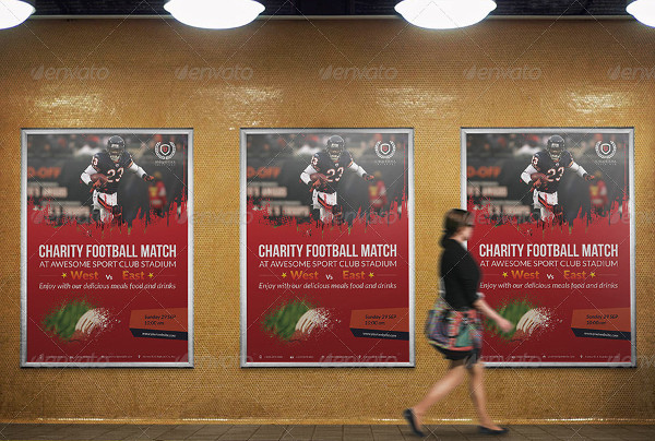 Cool Football Charity Poster Template