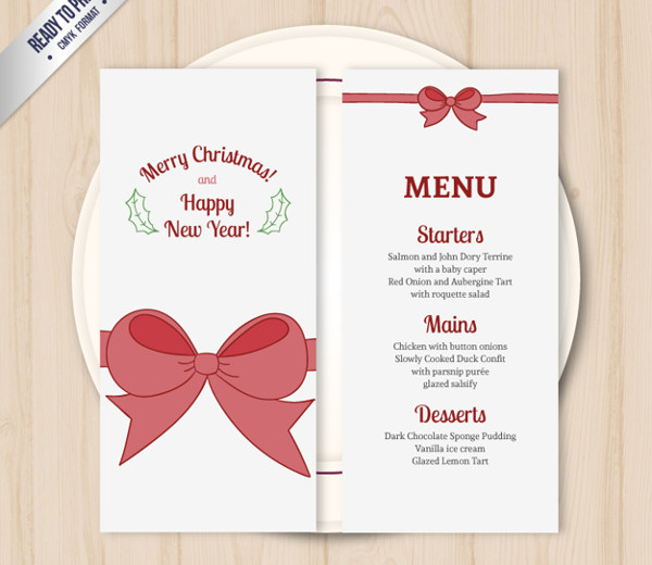Free Holiday Menu Template Download