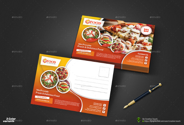 Fully Editable Restaurant Postcard Templates