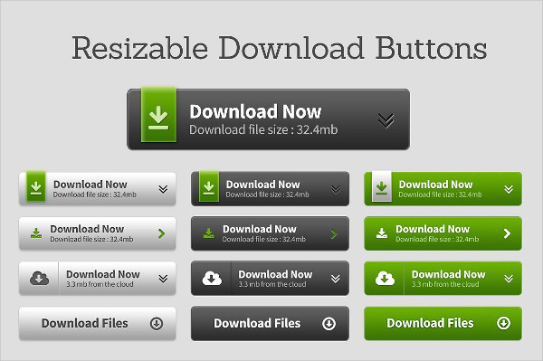 Fully Resizable Download Buttons PSD
