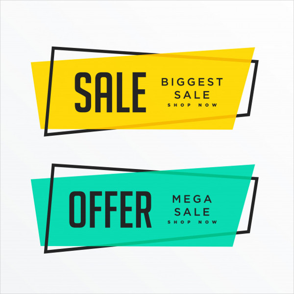 Geometric Sale Banners With Text Space Free