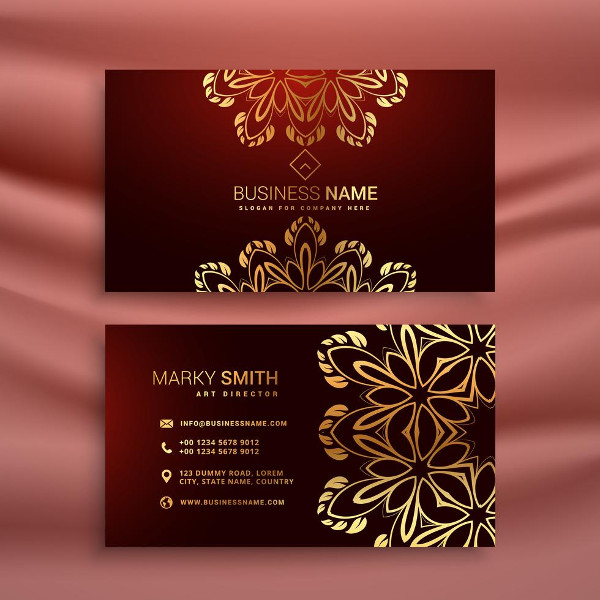 Golden Floral Luxury Business Card Template Free