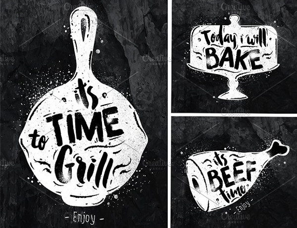 Graphic Chalkboard Food Posters Set
