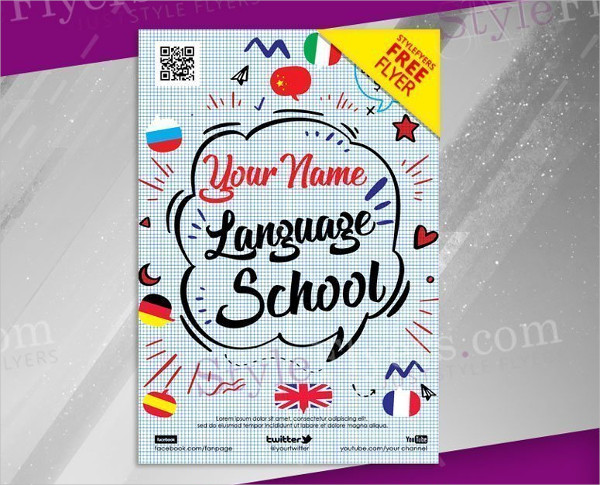 Language School Promotion Free PSD Flyer Template