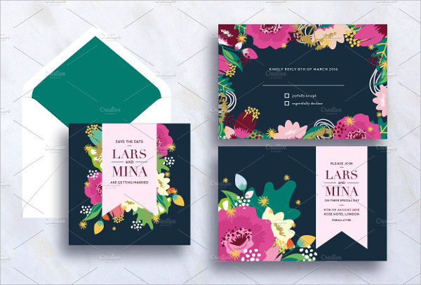 Marriage Flower Invitation Card Template