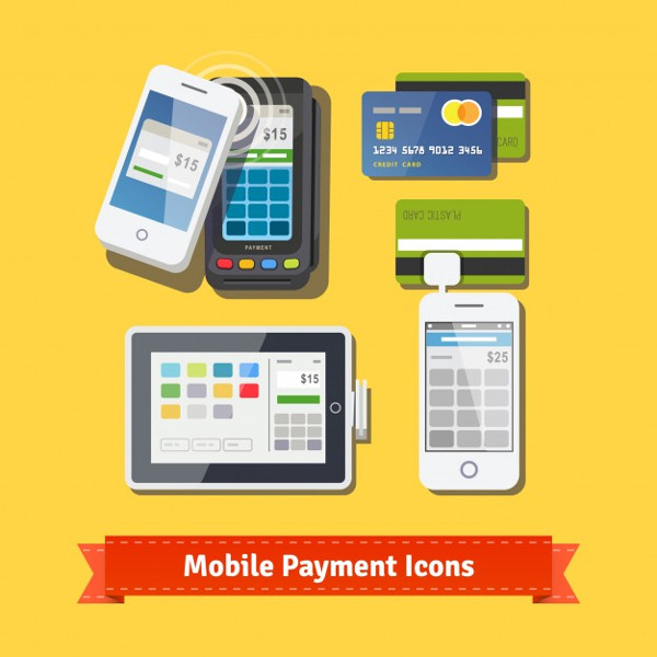 Mobile Business Payment Flat Icon Set Free Download