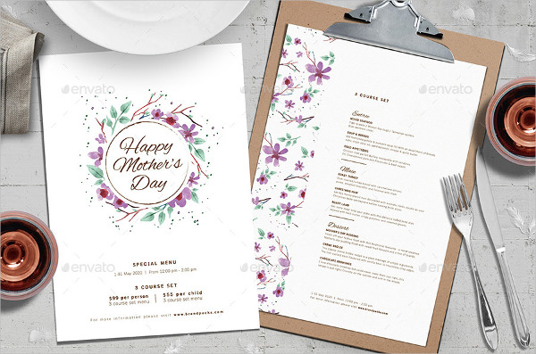 Mother's Day Brunch Menu Template for Photoshop