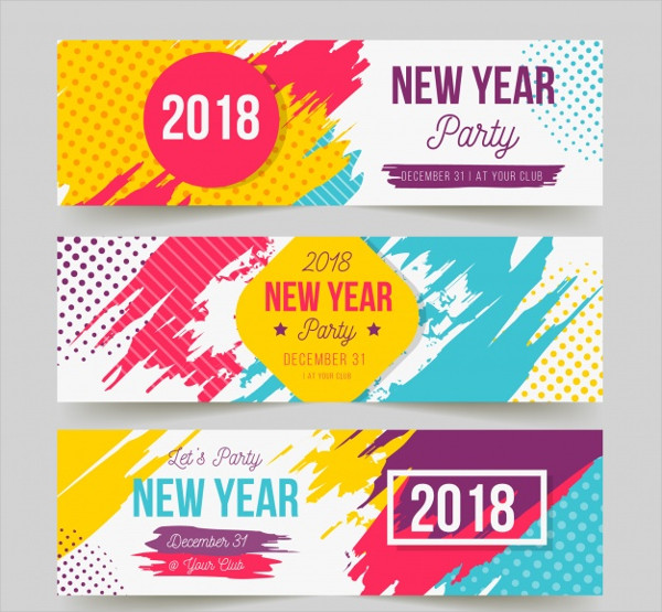 New Year Party Banners In Bright Colors Free
