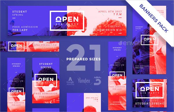 Open Air Party Banner Template Pack