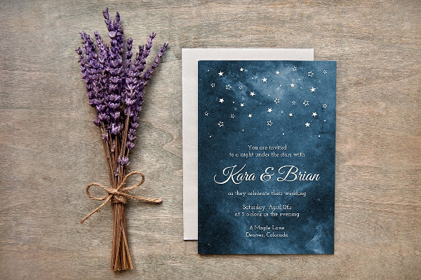 Painted Starry Night Marriage Invites