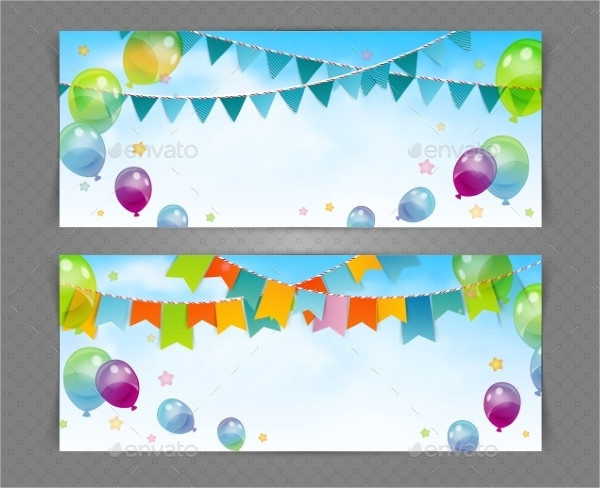 Party Banner with Flags And Balloons