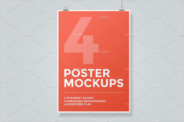 Realistic Hanging Poster Mockup