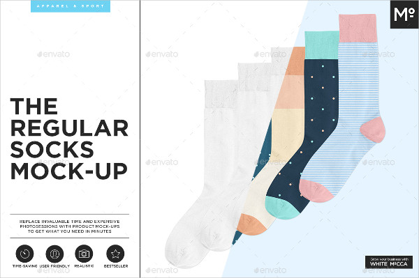 Regular Socks Mock-up Template
