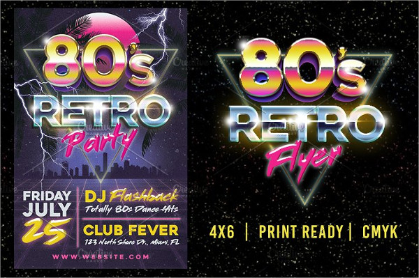 80's Retro Party Flyer Template