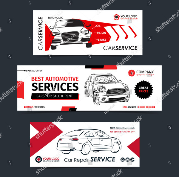 Set of Auto Repair Company Banners