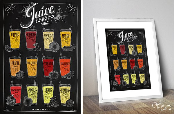 Set of Juice Chalkboard Posters