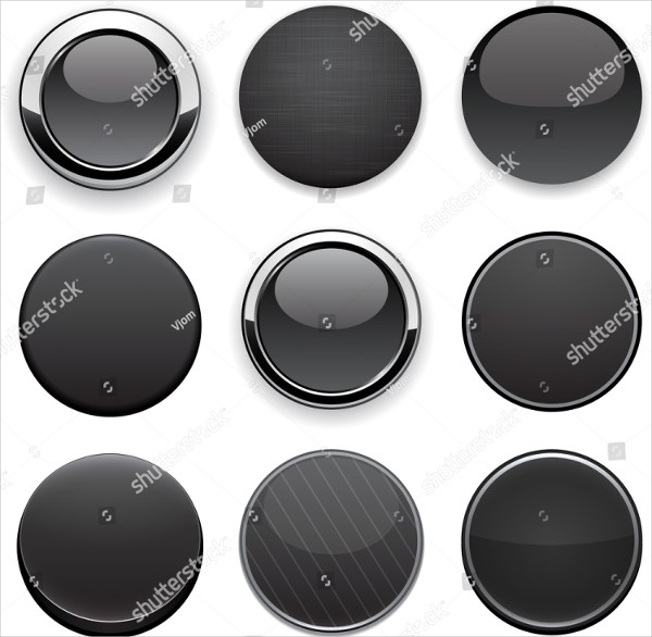 Set of Blank Black Buttons for Website or App