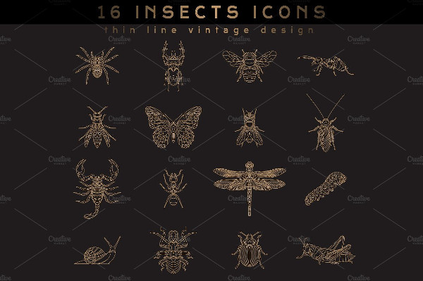 Set Of Vintage Thin Line Insect Icons
