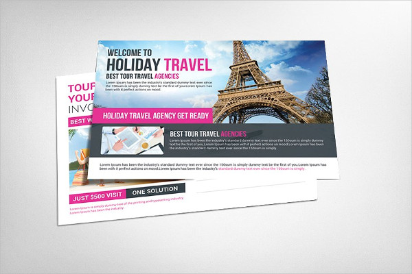 Holiday Travel Tour Postcards Template