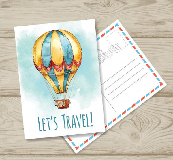 Travel Postcard Template With Watercolor Balloon Free