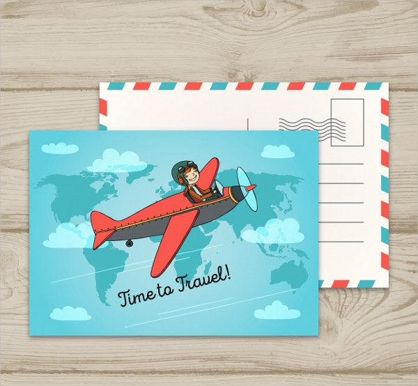 Travel Postcard With Small Plane Flying Free