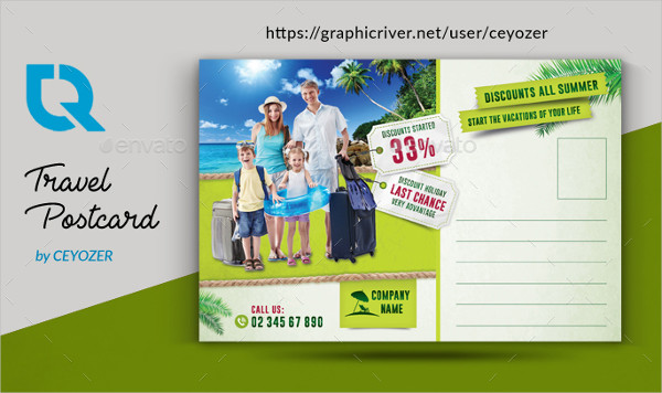 Vacation Travel Postcard Design Template